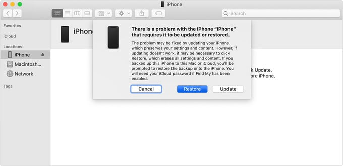 restore iPhone from recovery mode